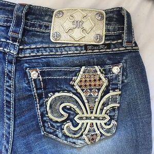 MISS ME Fleur-De-Lis Cuffed Capri Jeans NWOT